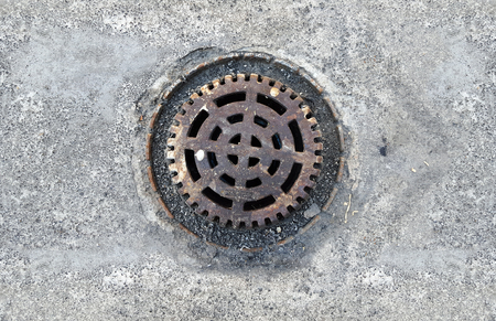 Old dirty roof drain Stock Photo