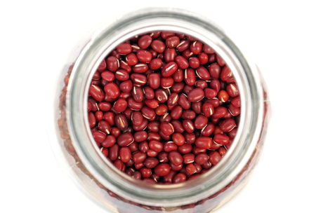 glass jars: red beans in the glass jars Stock Photo