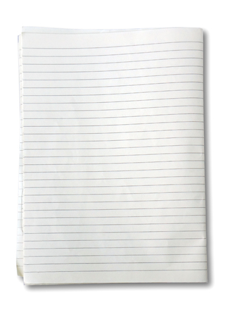 college ruled: white lined sheet of notepad paper on white background