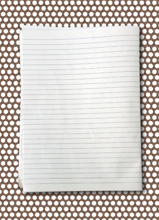 college ruled: white lined sheet of notepad paper on rusty steel Stock Photo