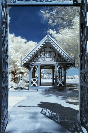 ancient near east: Boardwalk hall in temple ,Thailand  taken in near infrared Stock Photo
