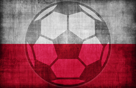 poland flag: football symbol on Poland flag pattern,retro vintage style