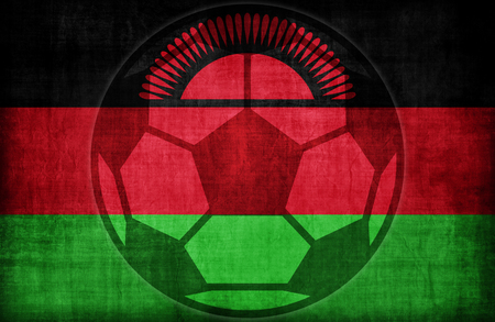 malawi flag: football symbol on Malawi flag pattern,retro vintage style