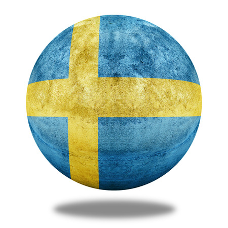 Sweden flag pattern on stone circle shape texture