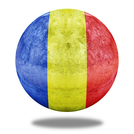 stone circle: Romania flag pattern on stone circle shape texture Stock Photo