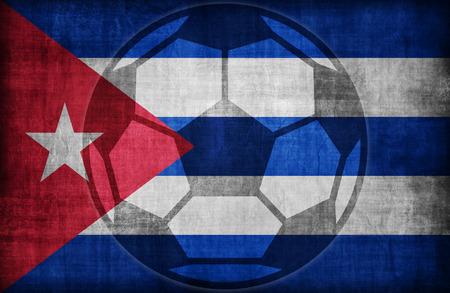 cuba flag: football symbol on Cuba flag pattern,retro vintage style