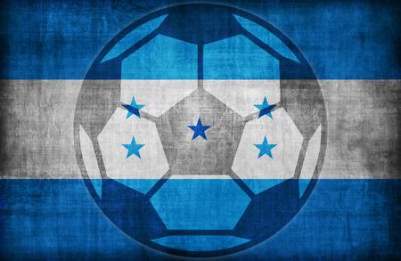 bandera honduras: símbolo de fútbol en modelo de la bandera Honduras, época de estilo retro Foto de archivo