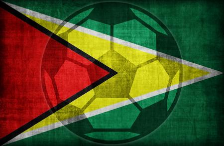 retrospective: football symbol on Guyana flag pattern,retro vintage style