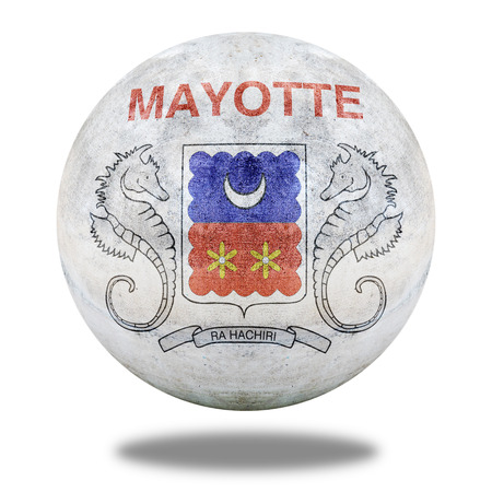 mayotte: Mayotte flag pattern on stone circle shape texture Stock Photo