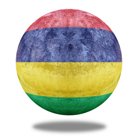 retrospective: Mauritius flag pattern on stone circle shape texture