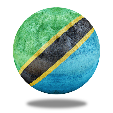 stone circle: Tanzania flag pattern on stone circle shape texture Stock Photo