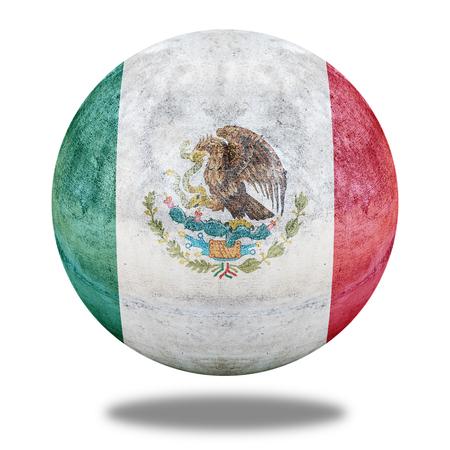 vintage flag: Mexico flag pattern on stone circle shape texture Stock Photo