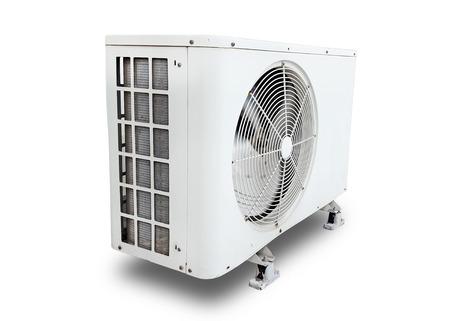 luchtcompressor op witte achtergrond Stockfoto