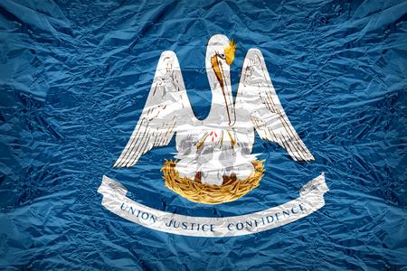 louisiana flag: Louisiana flag pattern overlay on floyd of candy shell, vintage border style Stock Photo