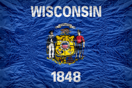 wisconsin flag: Wisconsin flag pattern overlay on floyd of candy shell, vintage border style