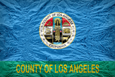 los angeles county: Los Angeles County flag pattern overlay on floyd of candy shell, vintage border style Stock Photo