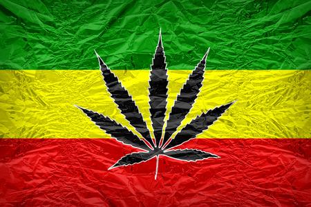 rasta: Rasta flag pattern with a marijuana leaf overlay on floyd of candy shell, vintage border style