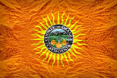 orange county: Orange County flag pattern overlay on floyd of candy shell, vintage border style Stock Photo