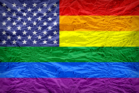 United States Gay flag pattern overlay on floyd of candy shell, vintage border style