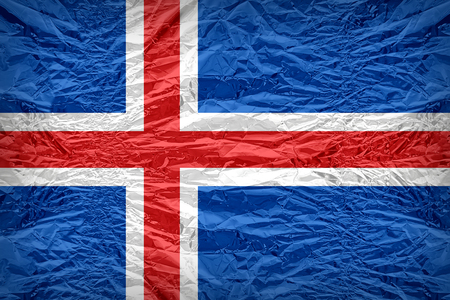 floyd: Iceland flag pattern overlay on floyd of candy shell, vintage border style Stock Photo