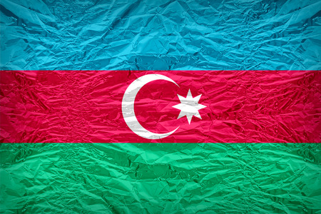 floyd: Azerbaijan flag pattern overlay on floyd of candy shell, vintage border style Stock Photo