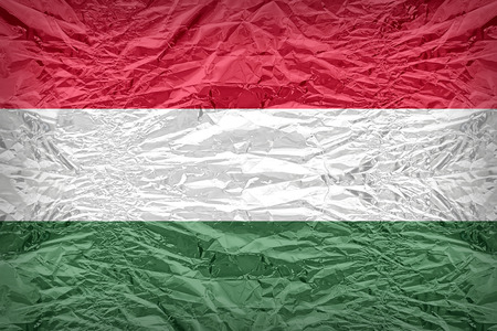 Hungary flag pattern overlay on floyd of candy shell, vintage border style Stock Photo