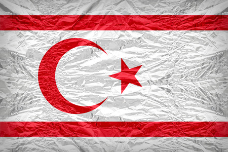 Northern Cyprus flag pattern overlay on floyd of candy shell, vintage border style