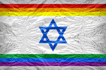 floyd: Rainbow Israel flag pattern overlay on floyd of candy shell, vintage border style Stock Photo
