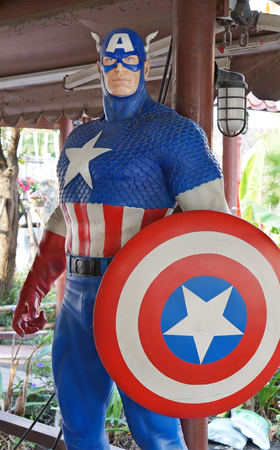 febuary: AYUTTAYA,THAILAND - FEBUARY 27, 2016 : A Captain America model at Thung Bua Chom floating market