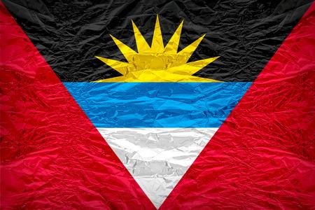 antigua flag: Antigua and Barbuda flag pattern overlay on floyd of candy shell, vintage border style