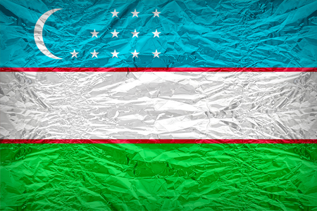 Uzbekistan flag pattern overlay on floyd of candy shell, vintage border style
