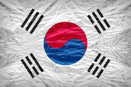 dazzlingly: South Korea flag pattern overlay on floyd of candy shell, vintage border style
