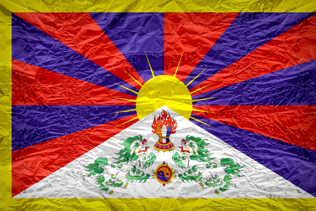 dazzlingly: Tibet flag pattern overlay on floyd of candy shell, vintage border style Stock Photo