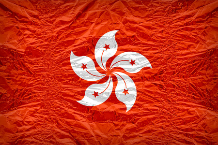 dazzlingly: Hong Kong flag pattern overlay on floyd of candy shell, vintage border style Stock Photo