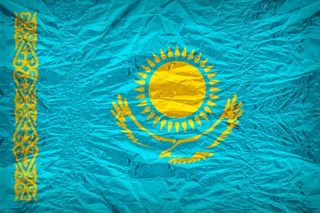 dazzlingly: Kazakhstan flag pattern overlay on floyd of candy shell, vintage border style Stock Photo
