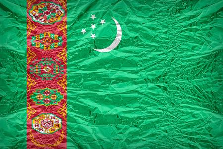 dazzlingly: Turkmenistan flag pattern overlay on floyd of candy shell, vintage border style Stock Photo