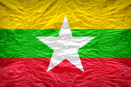 dazzlingly: Myanmar flag pattern overlay on floyd of candy shell, vintage border style
