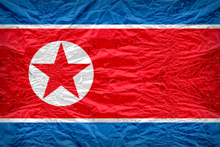 dazzlingly: North Korea flag pattern overlay on floyd of candy shell, vintage border style