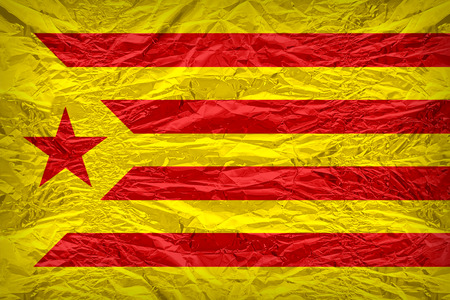 foreign land: Catalan Socialist Independentist red estelada flag pattern overlay on floyd of candy shell, vintage border style
