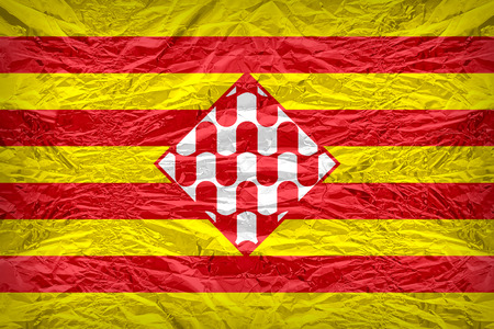 foreign land: Girona flag pattern overlay on floyd of candy shell, vintage border style