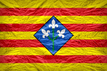 foreign land: Lleida flag pattern overlay on floyd of candy shell, vintage border style