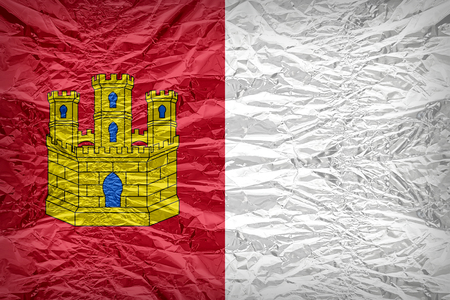 foreign land: Castile-La Mancha flag pattern overlay on floyd of candy shell, vintage border style