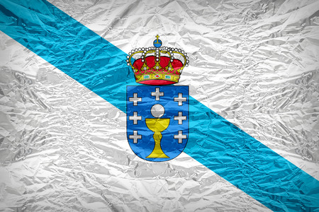 foreign land: Galicia flag pattern overlay on floyd of candy shell, vintage border style Stock Photo