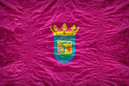 alava: Alava or Araba flag pattern overlay on floyd of candy shell, vintage border style Stock Photo