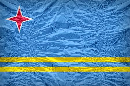 aruba flag: Aruba flag pattern overlay on floyd of candy shell, vintage border style