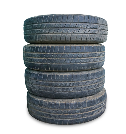stack of old tire on white background Archivio Fotografico
