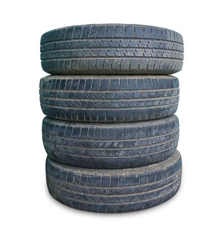 stack of old tire on white background Zdjęcie Seryjne