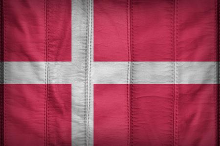 denmark flag: Denmark flag pattern on synthetic leather texture