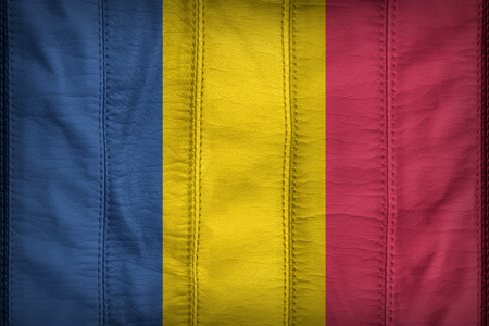 chad flag: Chad flag pattern on synthetic leather texture