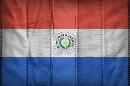 bandera de paraguay: patr�n de bandera Paraguay en la textura de cuero sint�tico